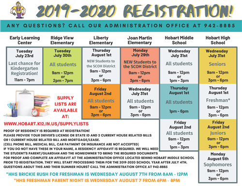2019-20 Registration Dates and Times