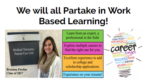 We will all partake in Work Based Learning!  Breanna Pardus, Class of 2017