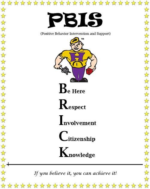 PBIS Poster showing: Be Here, Respect, Involvement, Citizenship, and Knowledge